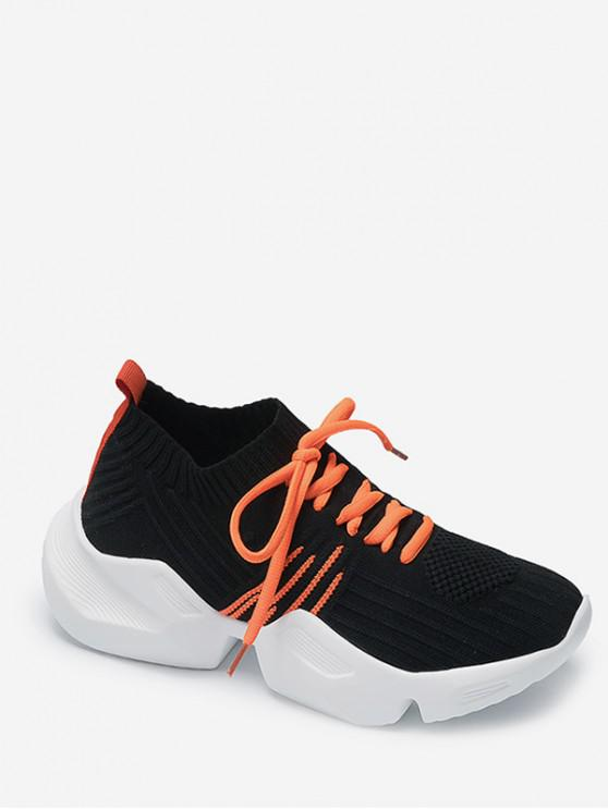 lady Two Tone Outdoor Knit Sneakers - BLACK EU 39
