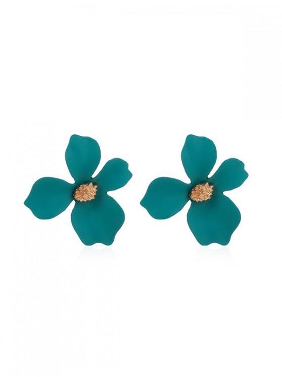 online Flower Spray Lacquer Stud Earrings - DARK TURQUOISE