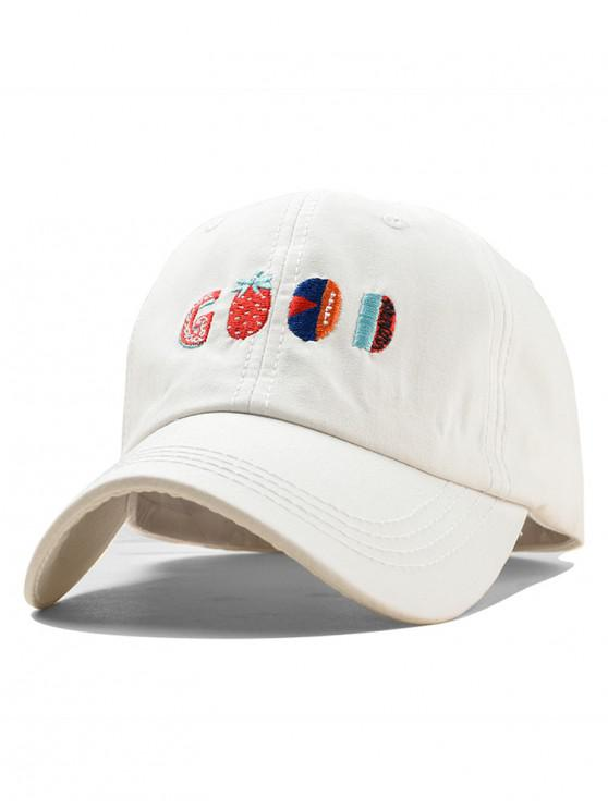 shop Embroidery Fruit Pattern Baseball Cap - WHITE