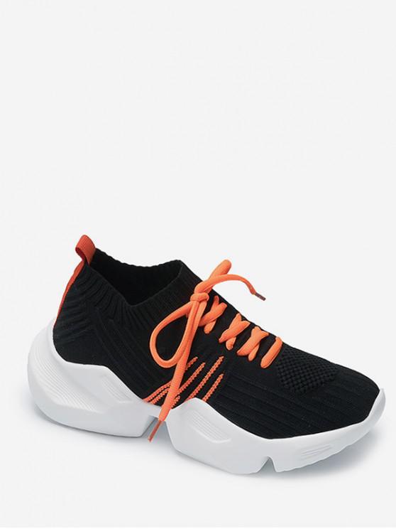 buy Two Tone Outdoor Knit Sneakers - BLACK EU 37