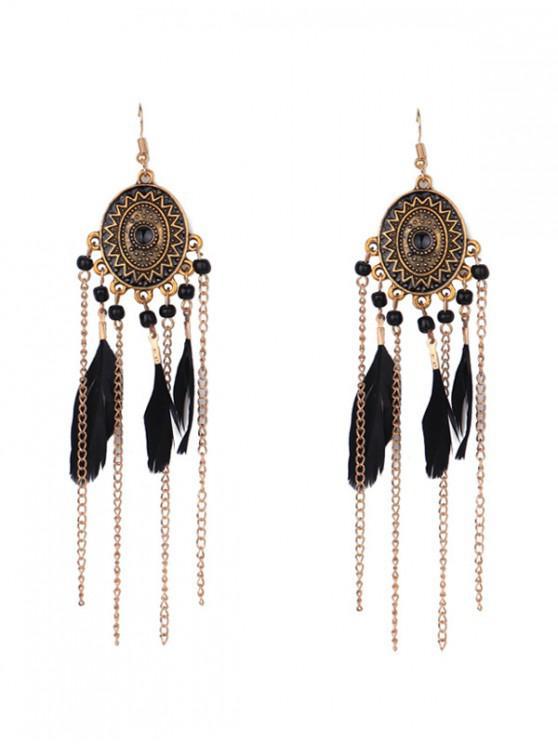 ladies Bohemian Geometric Feather Fringe Earrings - BLACK