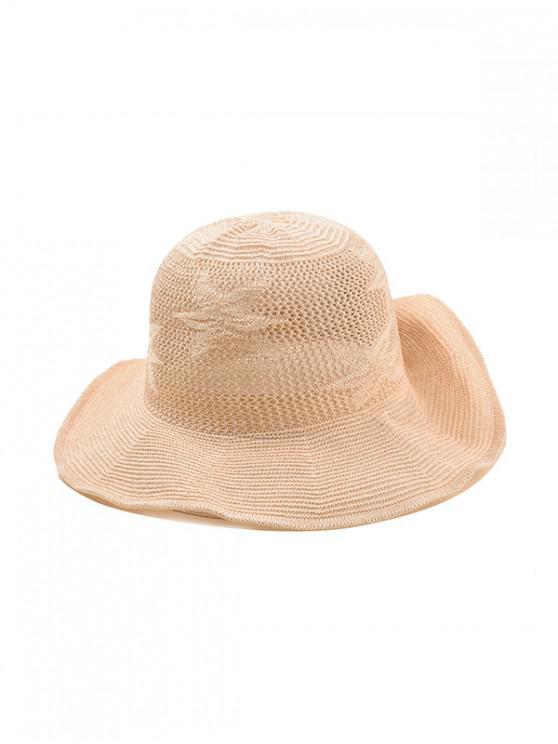 trendy Flower Pattern Hollowed Out Sun Hat - BEIGE