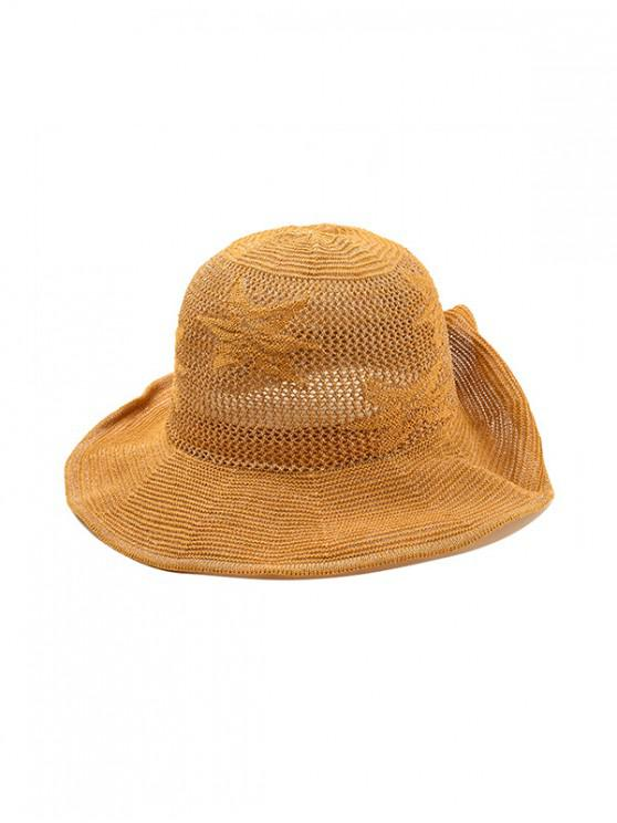 fashion Flower Pattern Hollowed Out Sun Hat - YELLOW