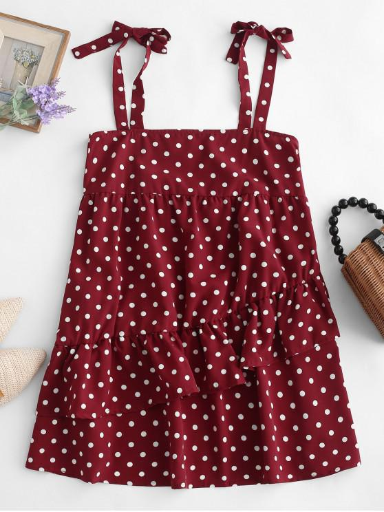 hot Tied Straps Polka Dot Layered Mini Dress - RED S