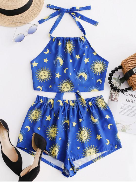 sale ZAFUL Knotted Star Moon And Sun Top And Shorts Set - OCEAN BLUE L