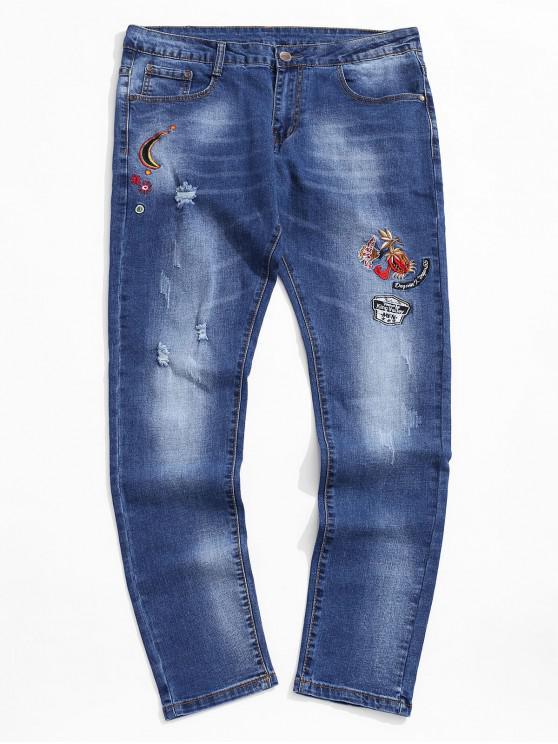 Stickerei -Stil-Lässige Jeans - Kobaltblau 34