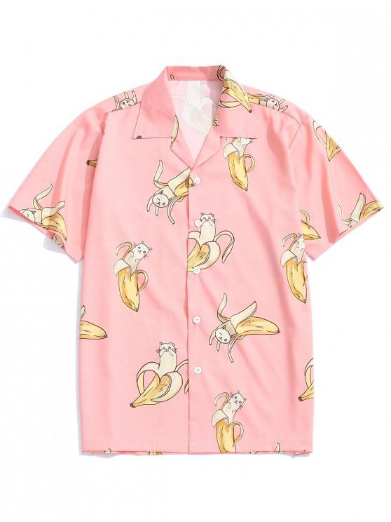 affordable Banana Cat Print Casual Shirt - ORANGE PINK M