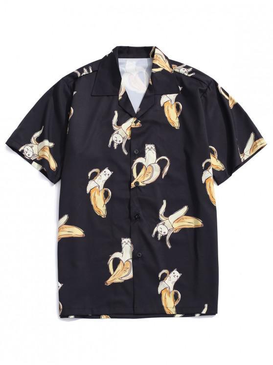 lady Banana Cat Print Casual Shirt - BLACK L