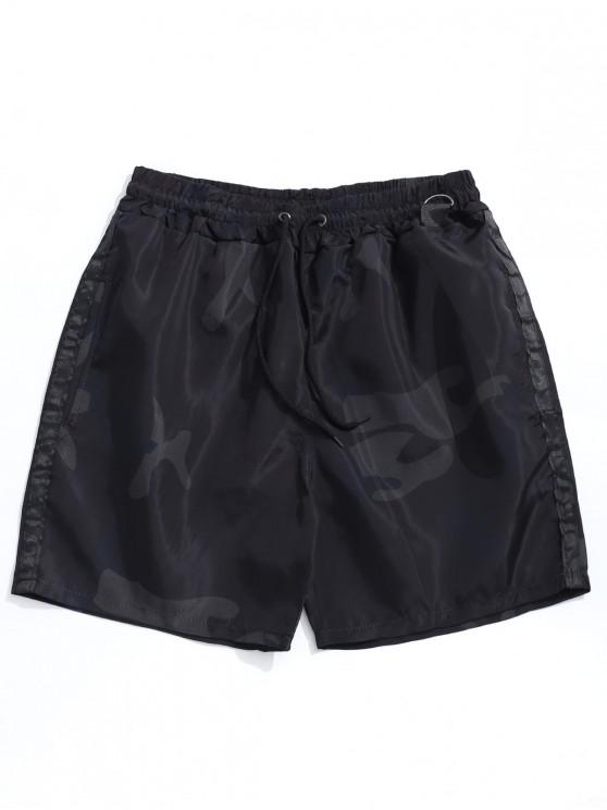 affordable Camouflage Print Casual Drawstring Shorts - BLACK M