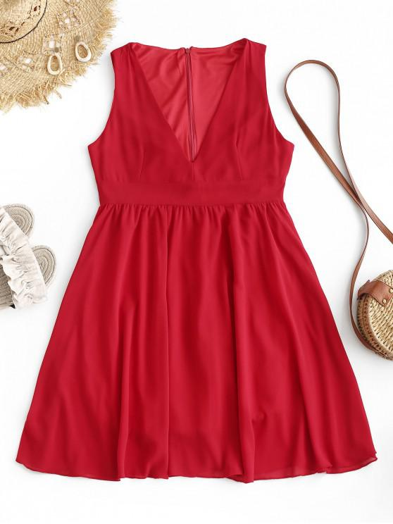 outfit Back Zipper V Neck Sleeveless Mini Dress - RED M