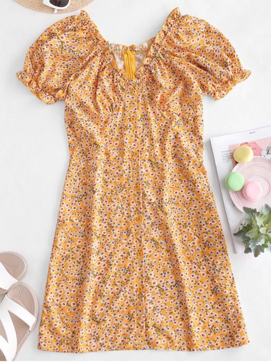 hot Buttoned Floral A Line Mini Dress - YELLOW M