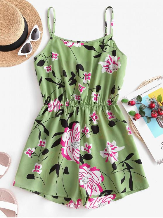 shop ZAFUL Elastic Waist Floral Cami Romper - GREEN PEAS M