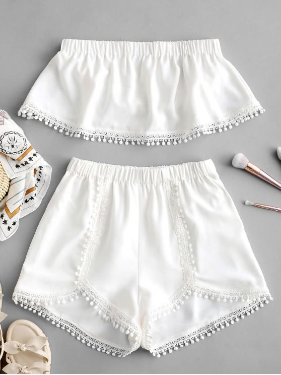 women ZAFUL Crochet Trim Bandeau Top And Shorts Set - WHITE L