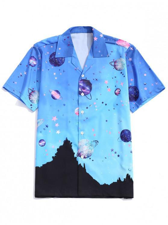 ladies Galaxy Planet Landscape Print Button Shirt - MULTI 2XL