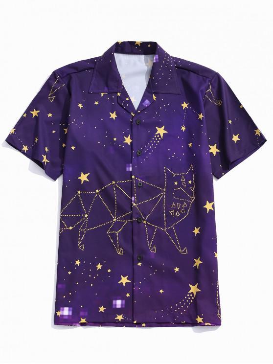 shop Abstract Animal Star Print Button Shirt - PLUM PURPLE XL