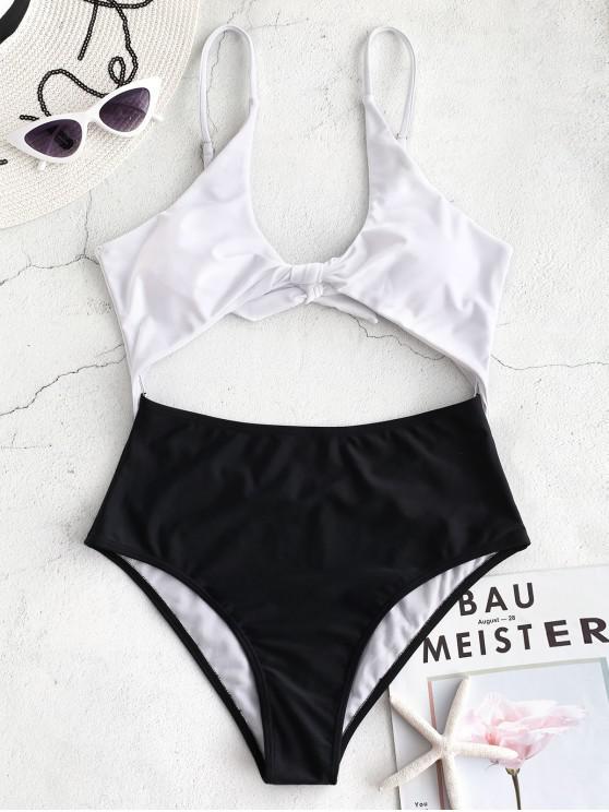 best ZAFUL Knot Two Tone Cutout Swimsuit - BLACK L