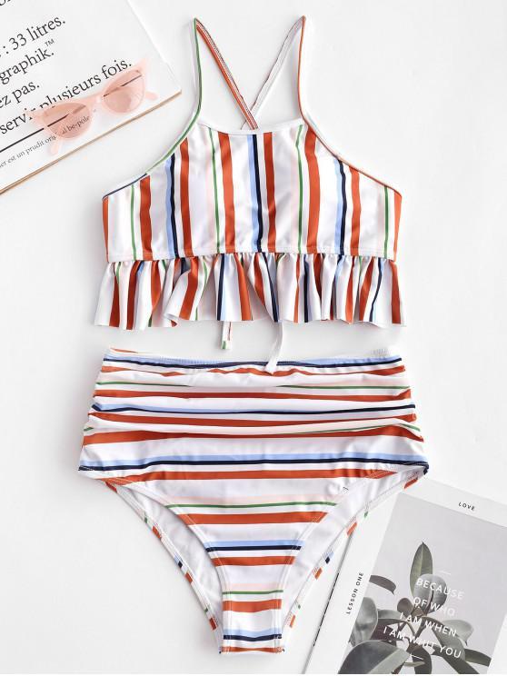 ladies ZAFUL Lace-up Ruched Striped Tankini Set - MULTI-A XL