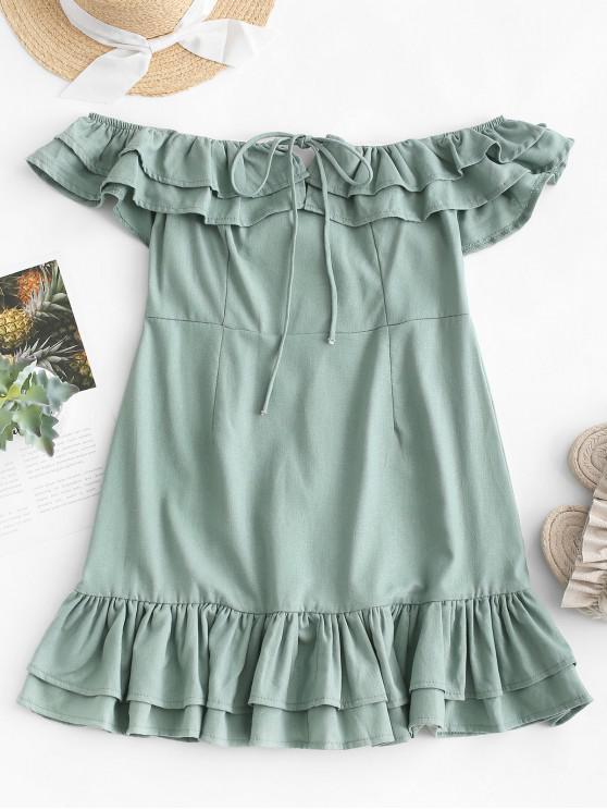 lady Layered Off Shoulder Mini Dress - GREEN S