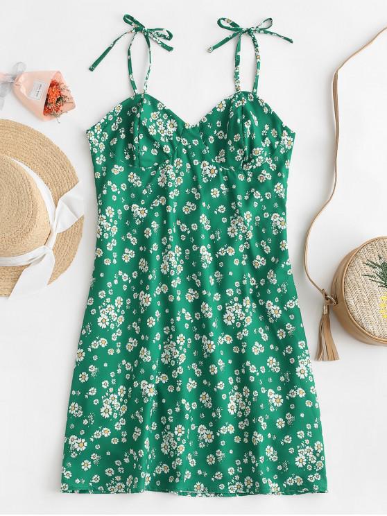 Mini vestido floral traseiro de Smocked - Verde S
