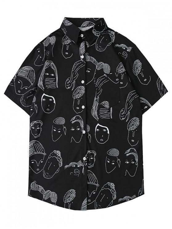 buy Cartoon Pattern Casual Short Sleeves Shirt - BLACK L