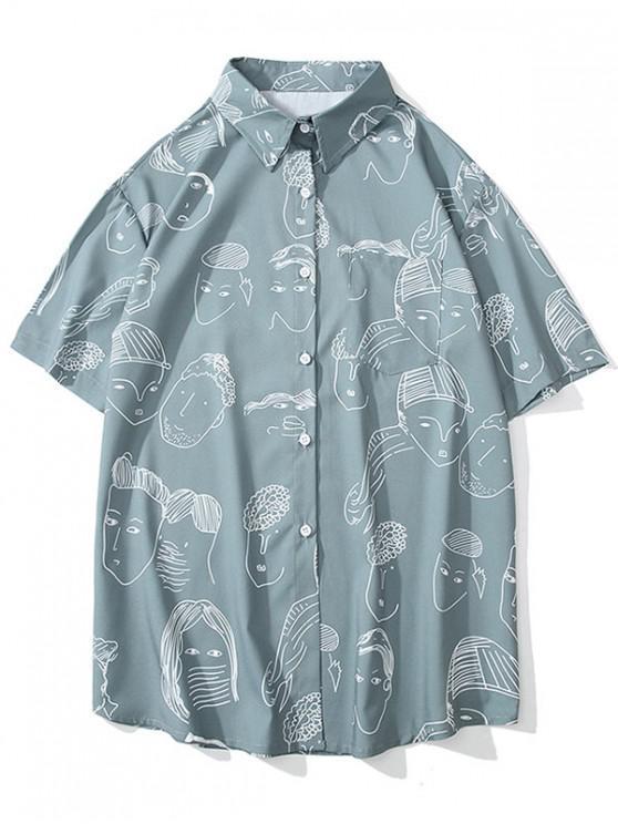 lady Cartoon Pattern Casual Short Sleeves Shirt - BABY BLUE XL