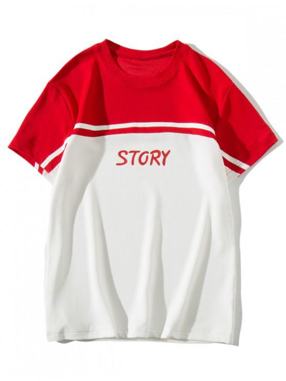 sale Story Letter Print Color Block Panel T-shirt - RED XS