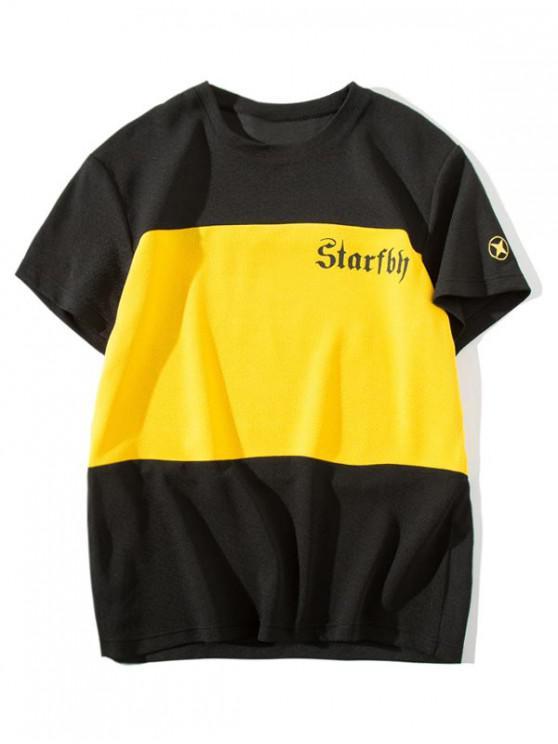 T-shirt bicolore à imprimé lettres - Jaune M