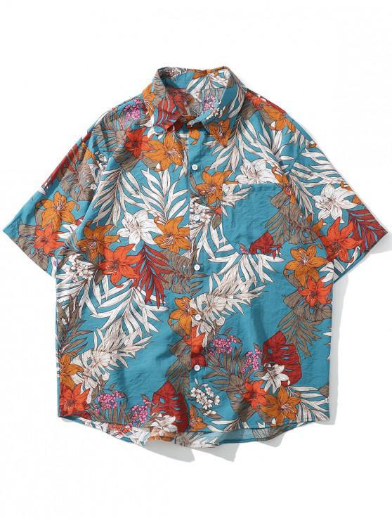 new Floral Leaf Pattern Leisure Short Sleeves Shirt - BLUE IVY L