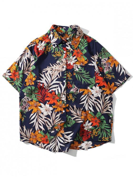 fashion Floral Leaf Pattern Leisure Short Sleeves Shirt - CADETBLUE L