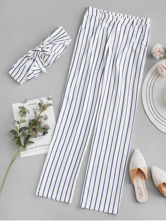 buy ZAFUL Padded Striped Zipper Pants Set - MILK WHITE L