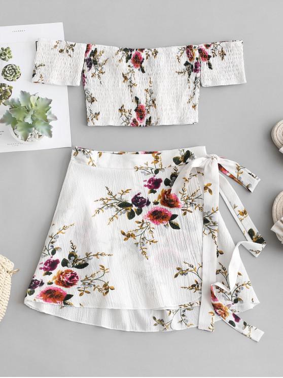 unique Floral Smocked Off Shoulder Wrap Skirt Set - WHITE L