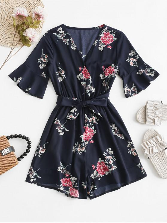 buy Belted V Neck Floral Romper - MIDNIGHT BLUE M