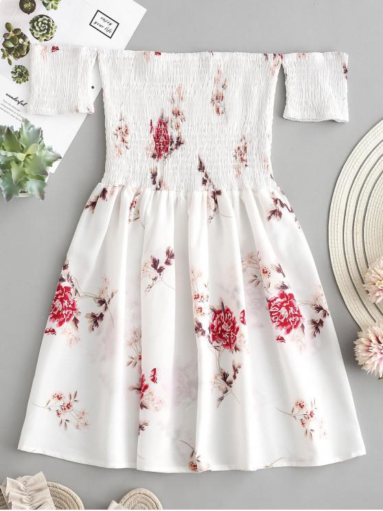 Mini-Robe Fleurie Plissée à Epaule Dénudée - Blanc S