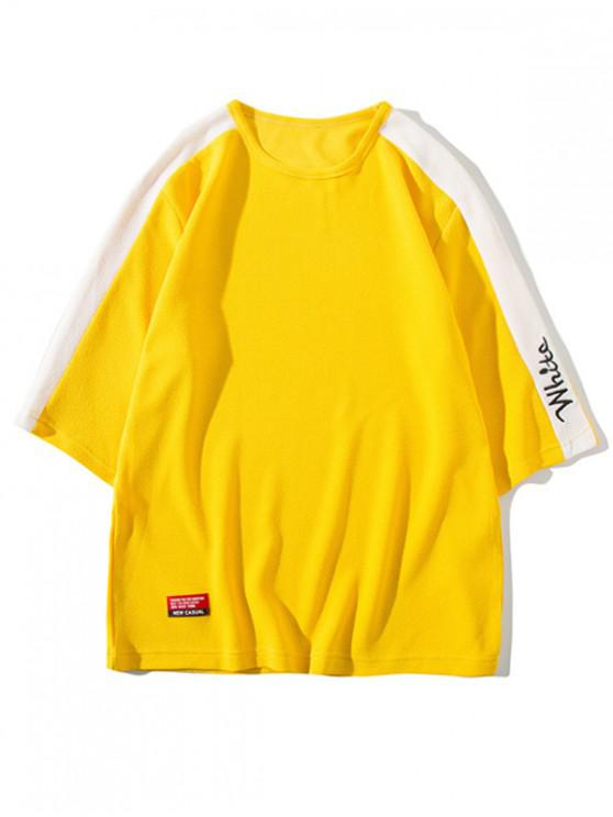 outfits Letter Print Panel Raglan Sleeves T-shirt - YELLOW XS