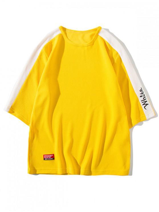 shop Letter Print Panel Raglan Sleeves T-shirt - YELLOW S