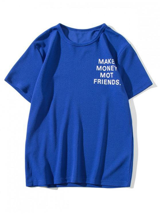unique Letter Print Casual Solid Color T-shirt - COBALT BLUE M