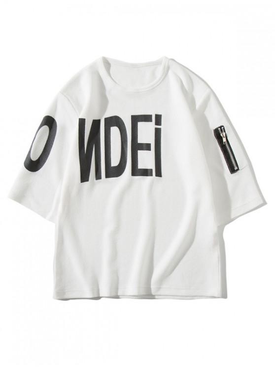 women Letter Printed Zipper Pocket T-shirt - WHITE L