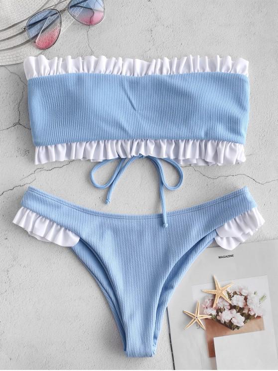 fashion ZAFUL Contrast Frilled Ribbed Bandeau Bikini Set - DENIM BLUE M