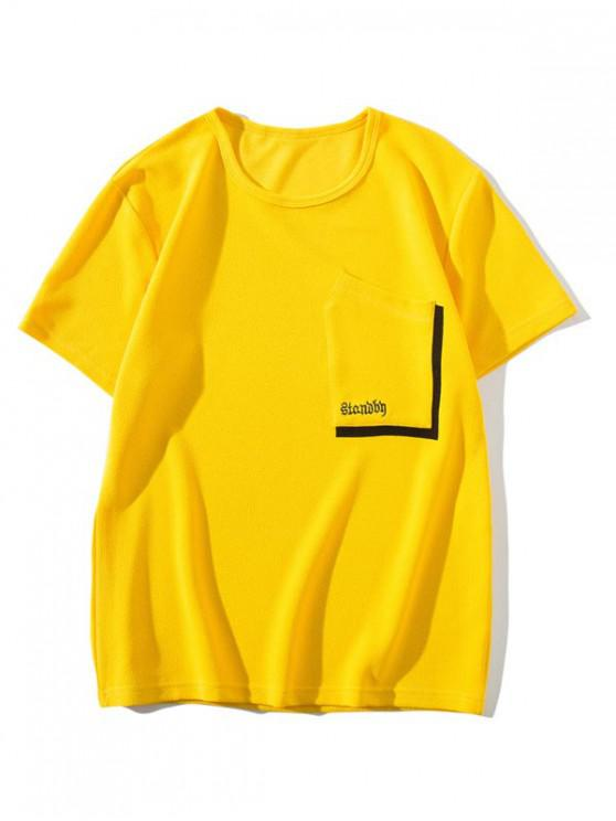 new Chest Pocket Solid Color T-shirt - YELLOW XS