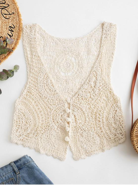 womens Crochet Knit Plunge Tank Top - APRICOT ONE SIZE