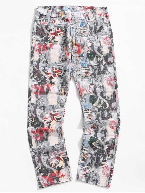 women's Leisure Style Printed Decoration Jeans - MULTI 38