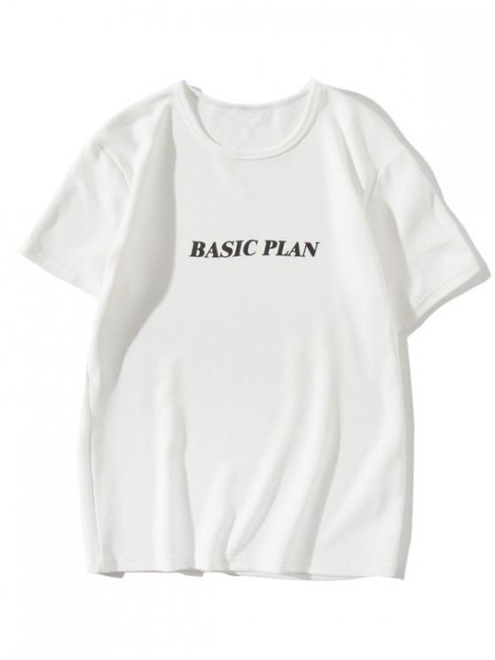 Camiseta básica de corte ajustado con estampado de carta de plan - Blanco S
