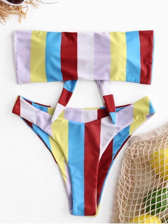 ZAFUL Bikini bandeau con lazo a rayas de colores - Multicolor-A S
