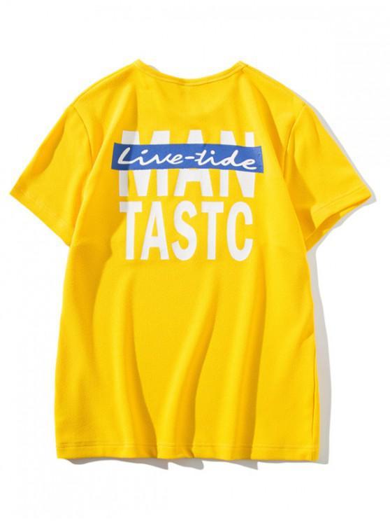 Camiseta Slim Fit Panel Estampado Carta - Amarillo M