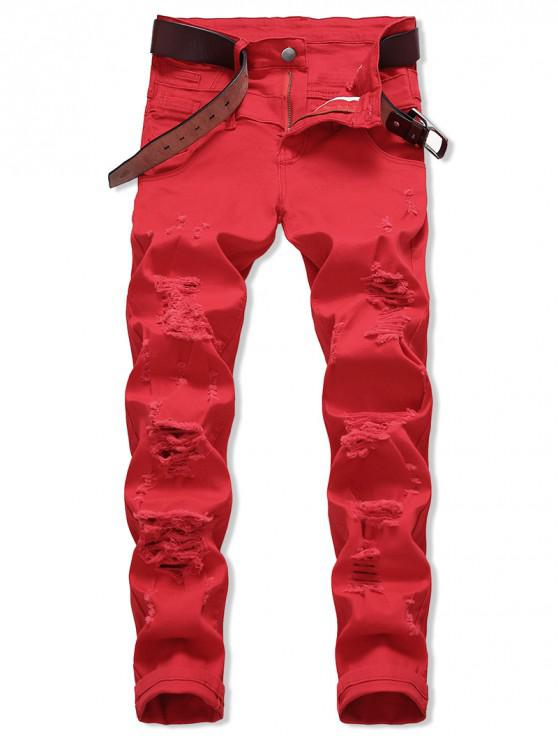 e596f437372 35% OFF] 2019 Zipper Fly Leisure Ripped Jeans In RED | ZAFUL