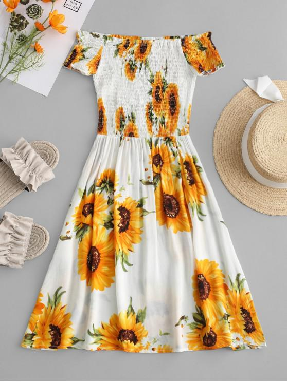 unique ZAFUL Smocked Sunflower Off Shoulder Dress - YELLOW L