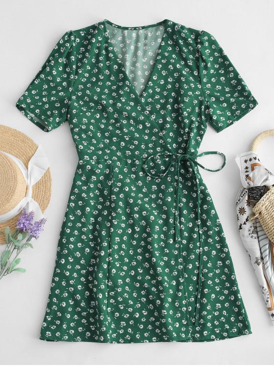 lady Short Sleeve Floral Wrap Mini Dress - GREEN M