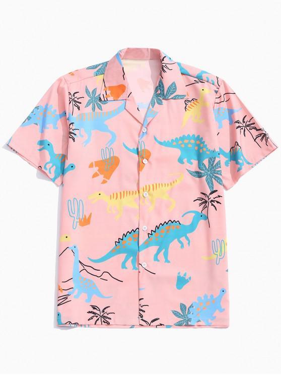 lady Animal Dinosaur Print Shirt - ORANGE PINK S