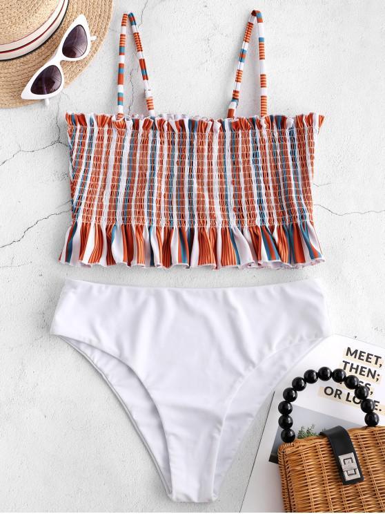fashion ZAFUL Striped Frilled Smocked Tankini Set - MULTI-A L