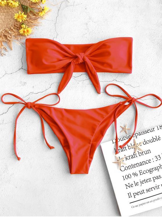fancy ZAFUL Tie Side Scrunch Butt Bandeau Bikini Set - BRIGHT ORANGE L